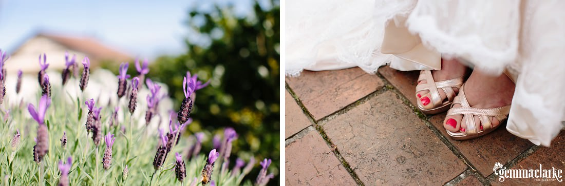 Purple flowers, and the bride's feet and shoes on pavers