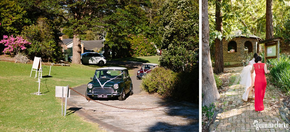 Two classic Minis arrive to deliver the bride, and the bride and her bridesmaid walking up a paved path