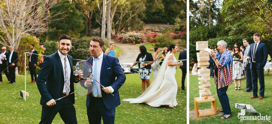Wedding guests enjoying badminton and giant jenga
