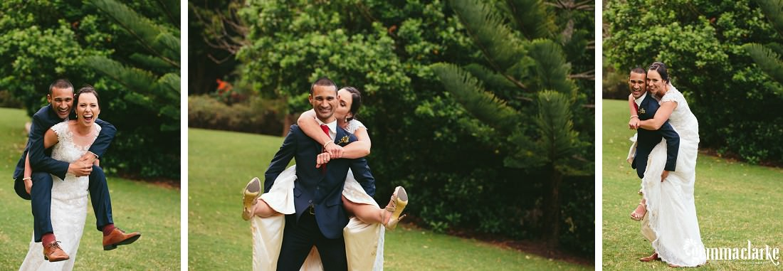 A bride and groom giving each other piggy back rides