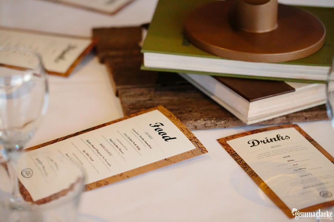 Food and drink menus on a table