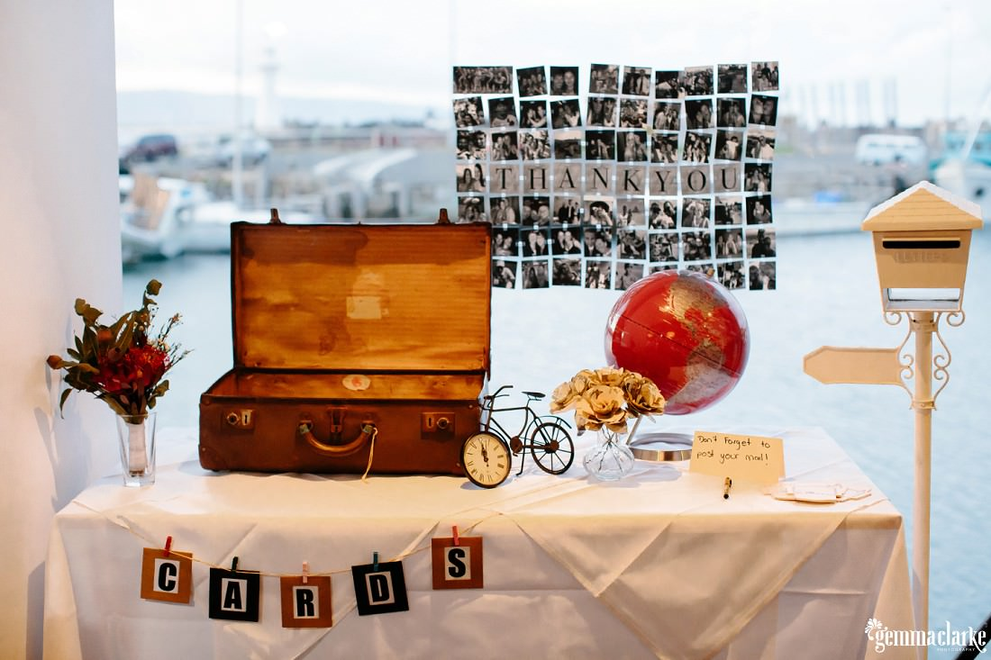 A table with a thank you sign, some other decorations and a suitcase for guests to put cards in