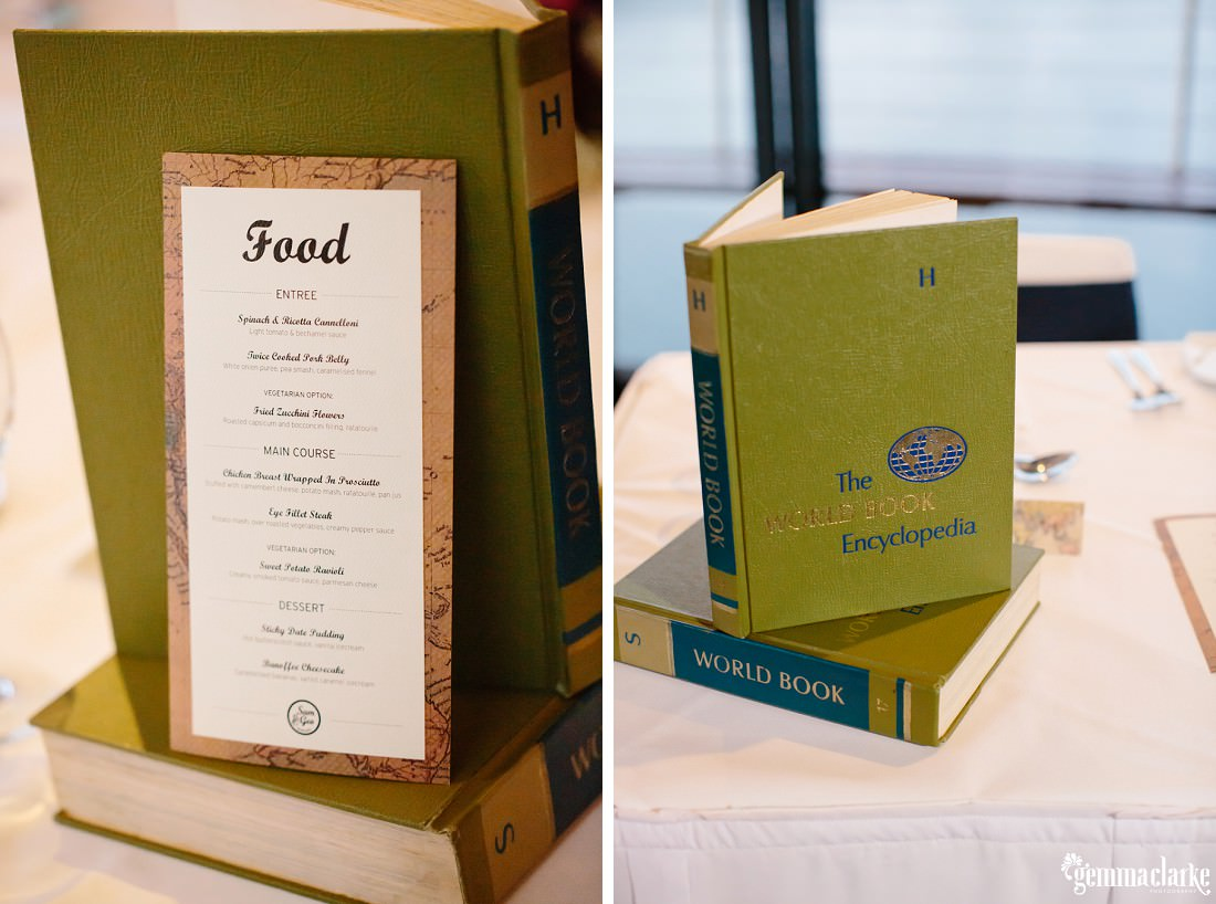 A food menu and some World Book Encyclopaedias