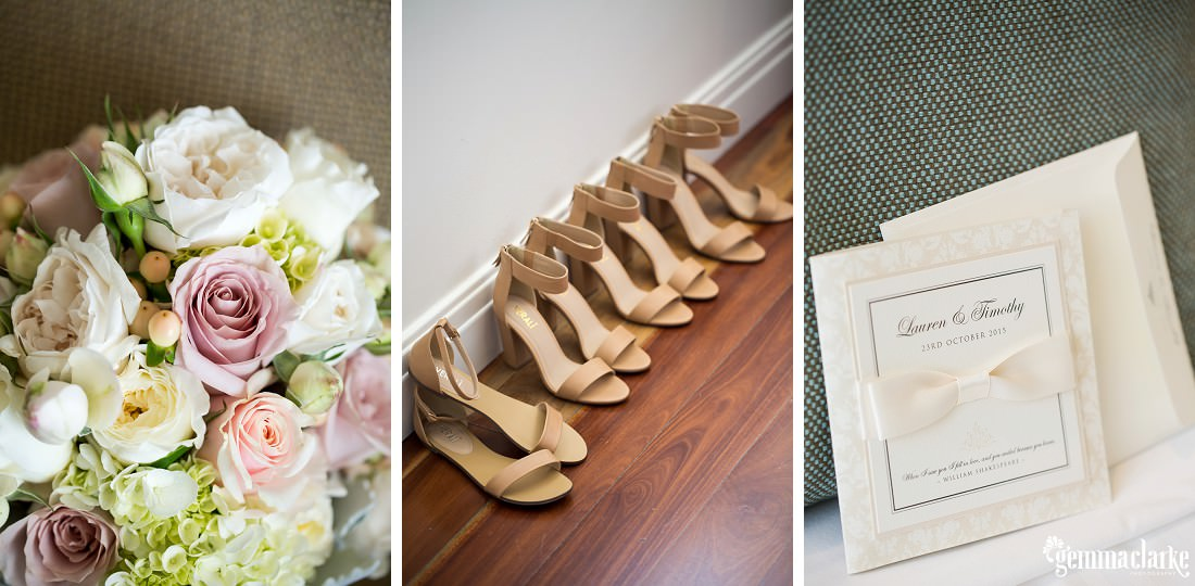 A closeup of a floral bouquet, five pairs of tan coloured womens shoes lined up against a wall, and a wedding invitation with a ribbon bow