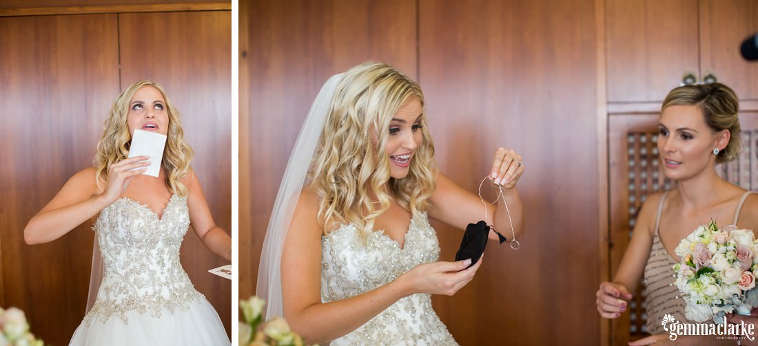 A bride opening a gift