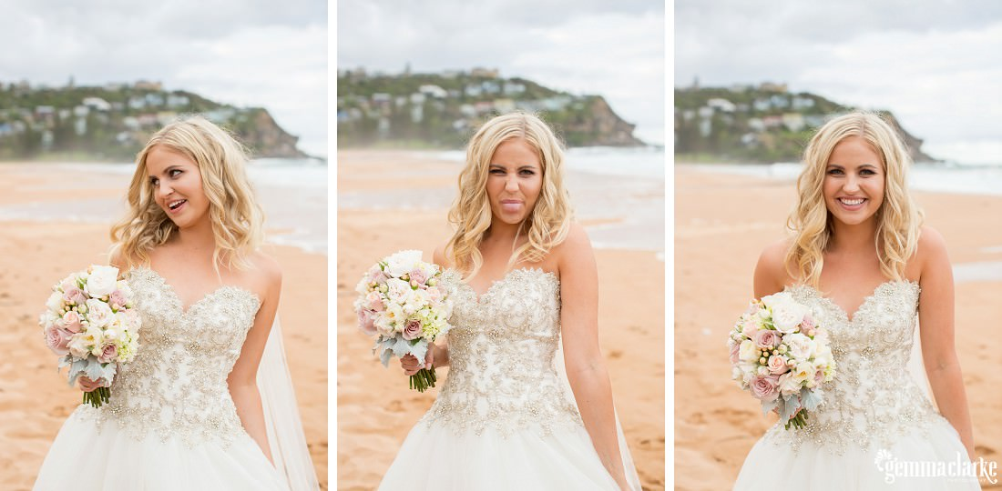 A bride smiling and poking out her tongue while standing on a beach