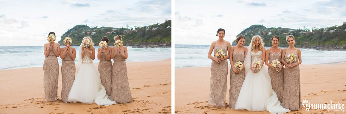 A bride and her bridesmaids on Whale Beach holding their bouquets