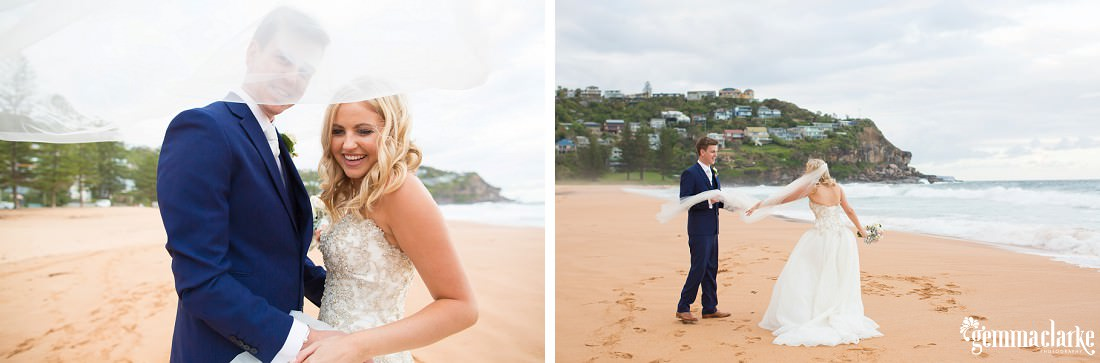 A bride and groom smiling together on Whale Beach