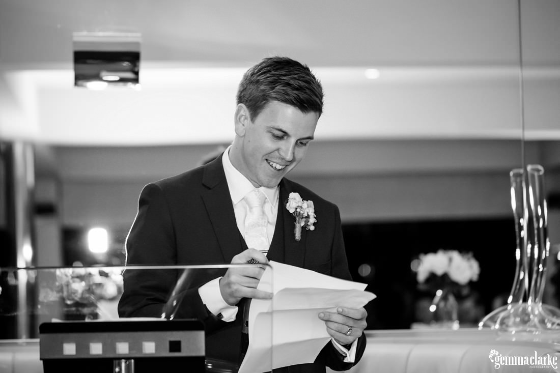 The groom delivers a speech