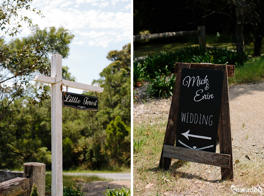 "A signpost with a sign pointing to ""Little Forest"", and a sandwich board sign saying ""Mick & Erin Wedding"" with an arrow pointing to the left"
