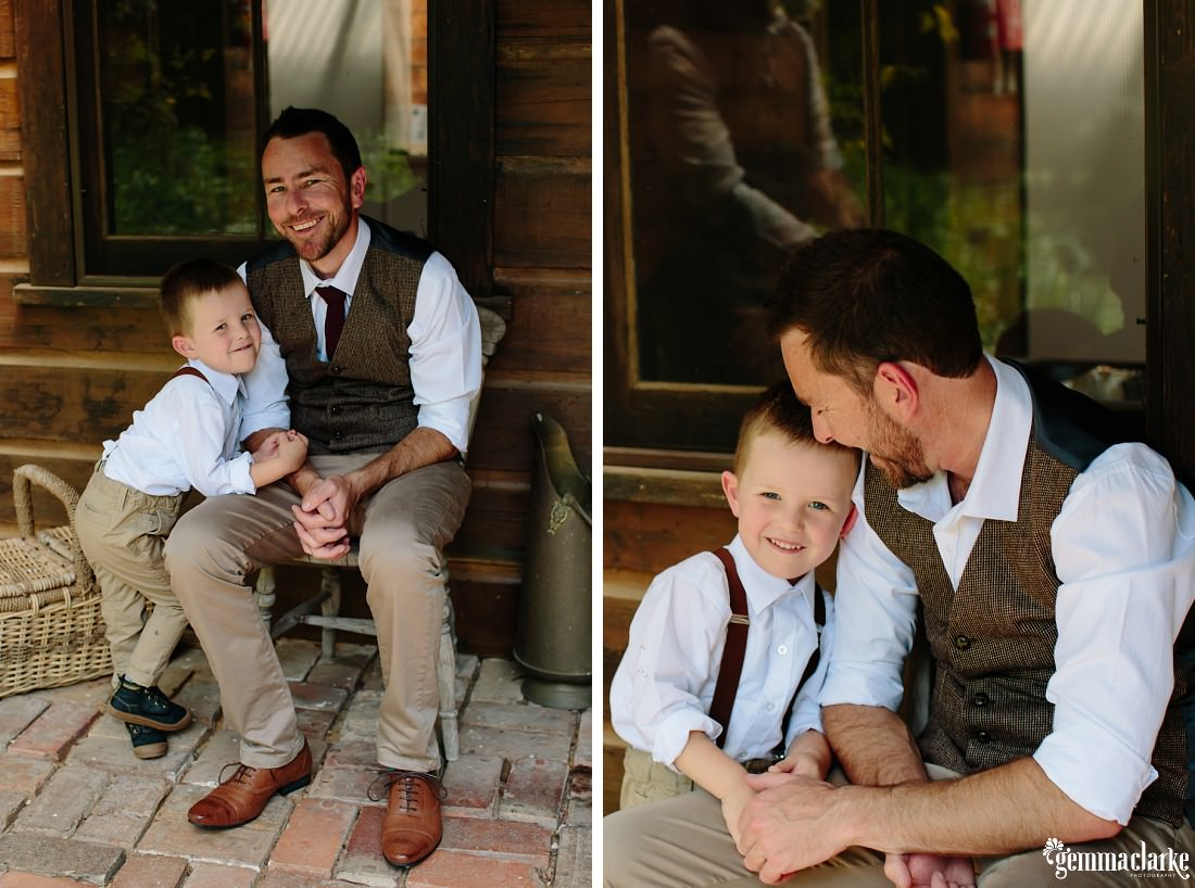 A groom and his son sitting and smiling together