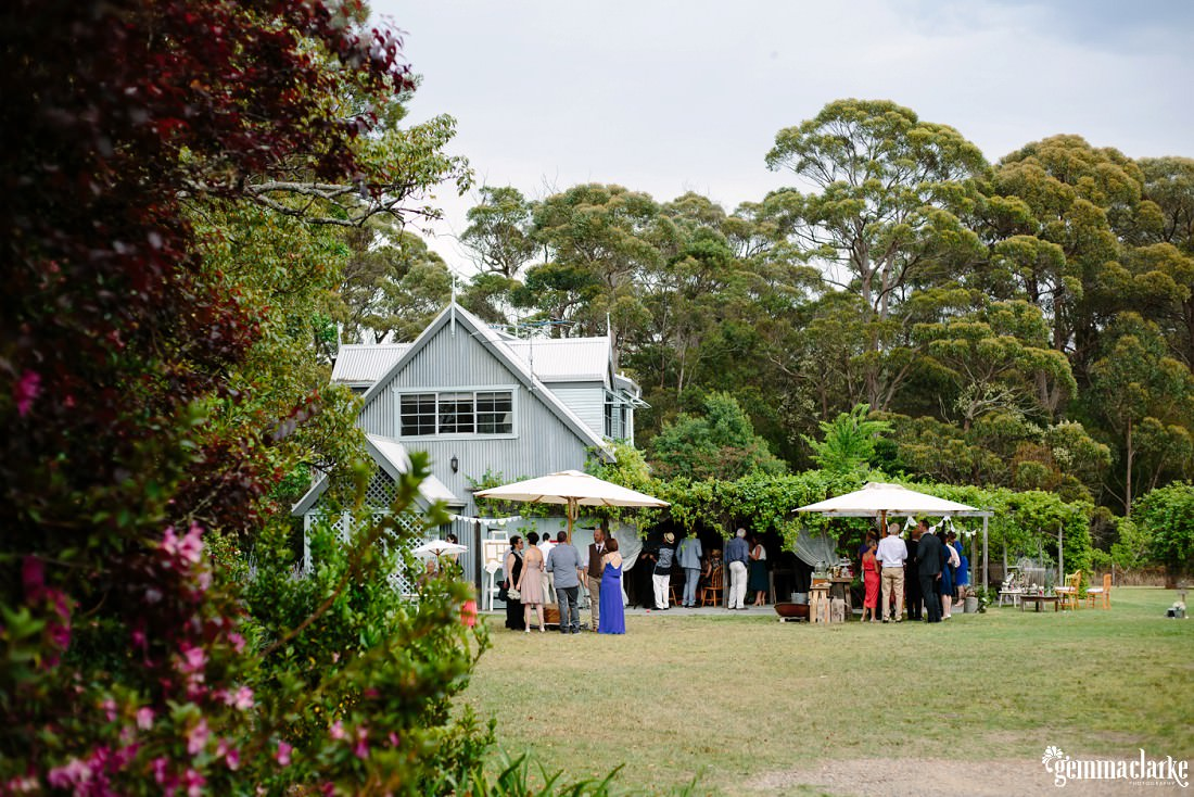 Wedding guests mingling underneath large umbrellas near a cottage