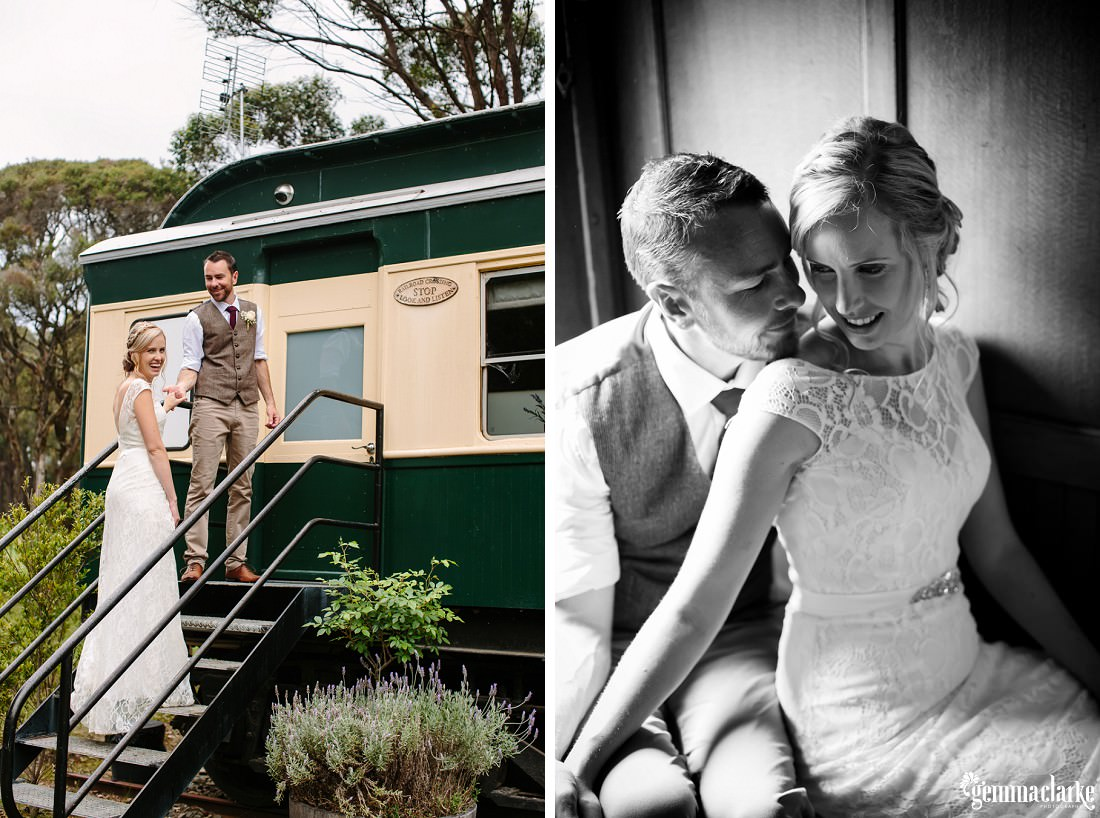 A groom holding his bride's hand and helping her up some stairs toward a train carriage, and a bride and groom sitting closer together in the train carriage