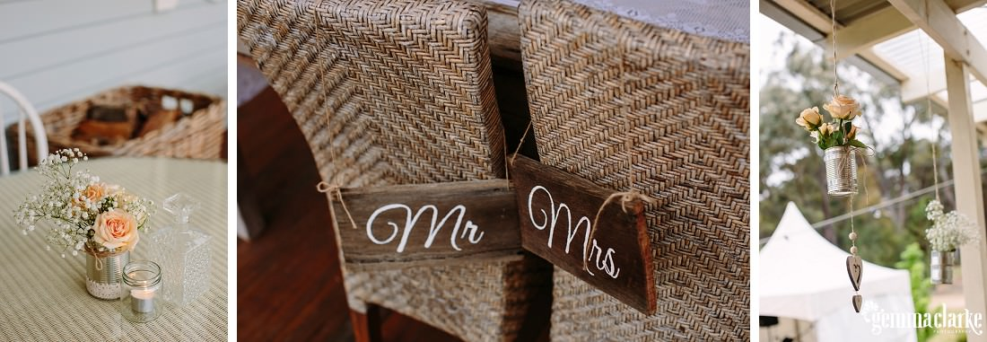 Flower decorations in aluminium cans and wooden Mr and Mrs signs on the back of wicker chairs