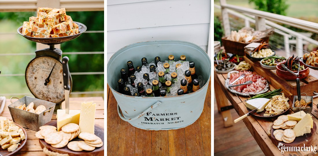 Antipasto platters on wooden tables and a bucket of ice and beers
