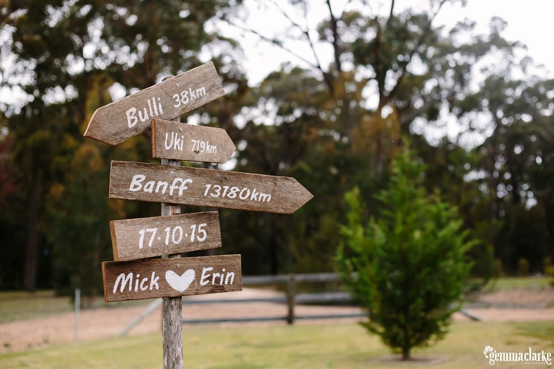A wooden signpost with various wooden signs point out directions