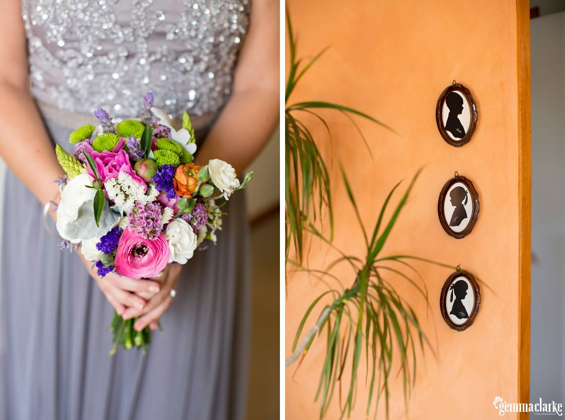 A closeup of a bridesmaid's bouquet and three silhouettes in frames on a sand coloured wall