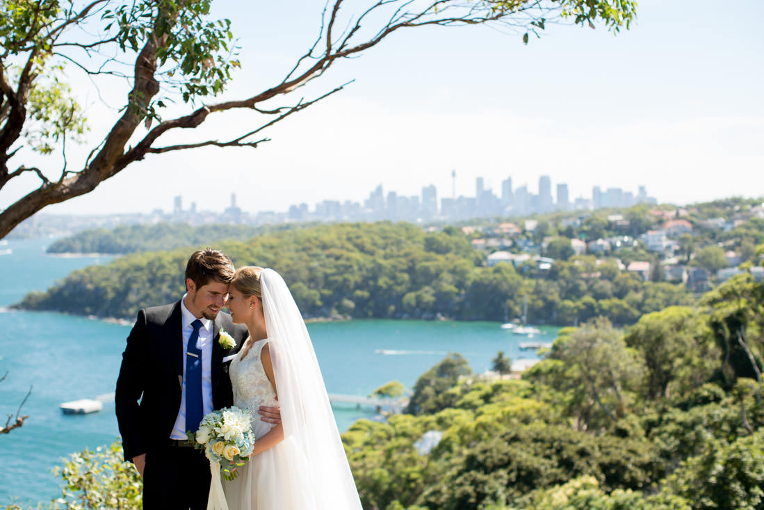 Bride and Groom with view of Sydney Harbour in the background