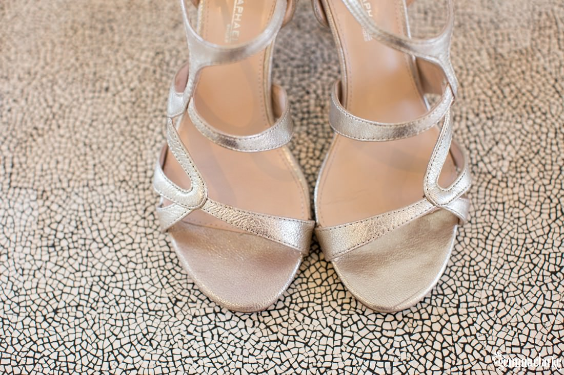 Silver open toed bridal shoes