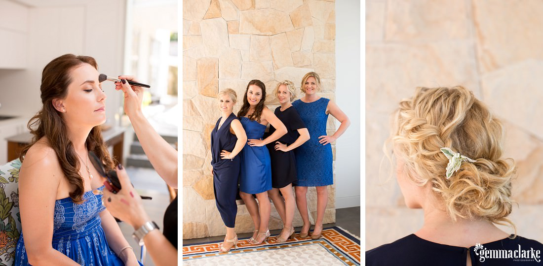 A bridesmaid having her makeup applied, four bridesmaids posing together, and a closeup of a bridesmaid's hair with a hairpiece