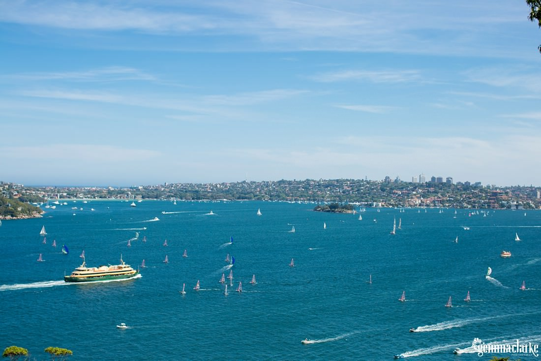 Boats on Sydney Harbour on a lovely blue day