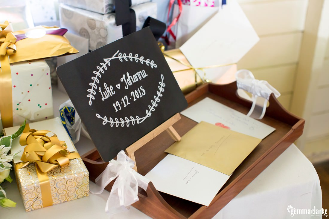 A card box and wedding gifts