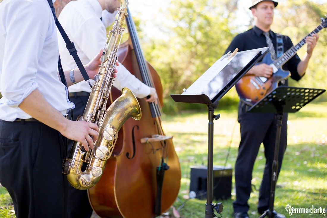 A band playing at a wedding