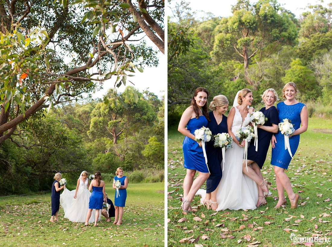A bride and her bridesmaids smiling and laughing