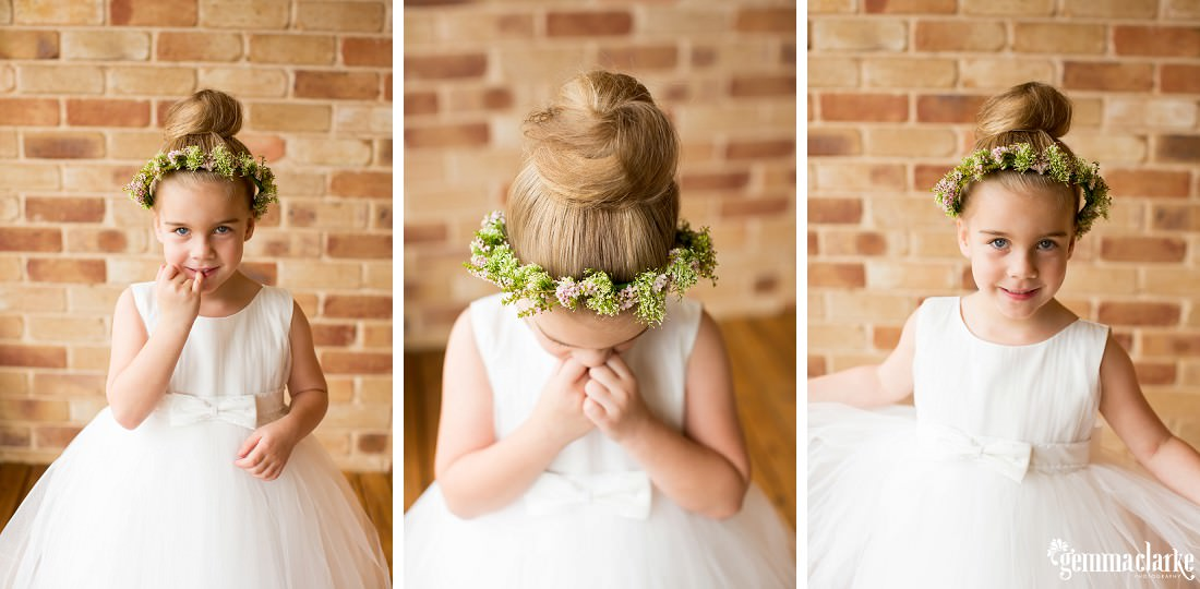 Three images of a flower girl in her white gown and floral crown