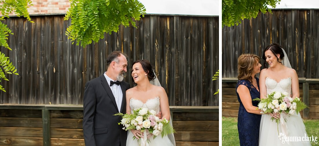 Two images of a bride smiling with her parents in front of a wooden fence