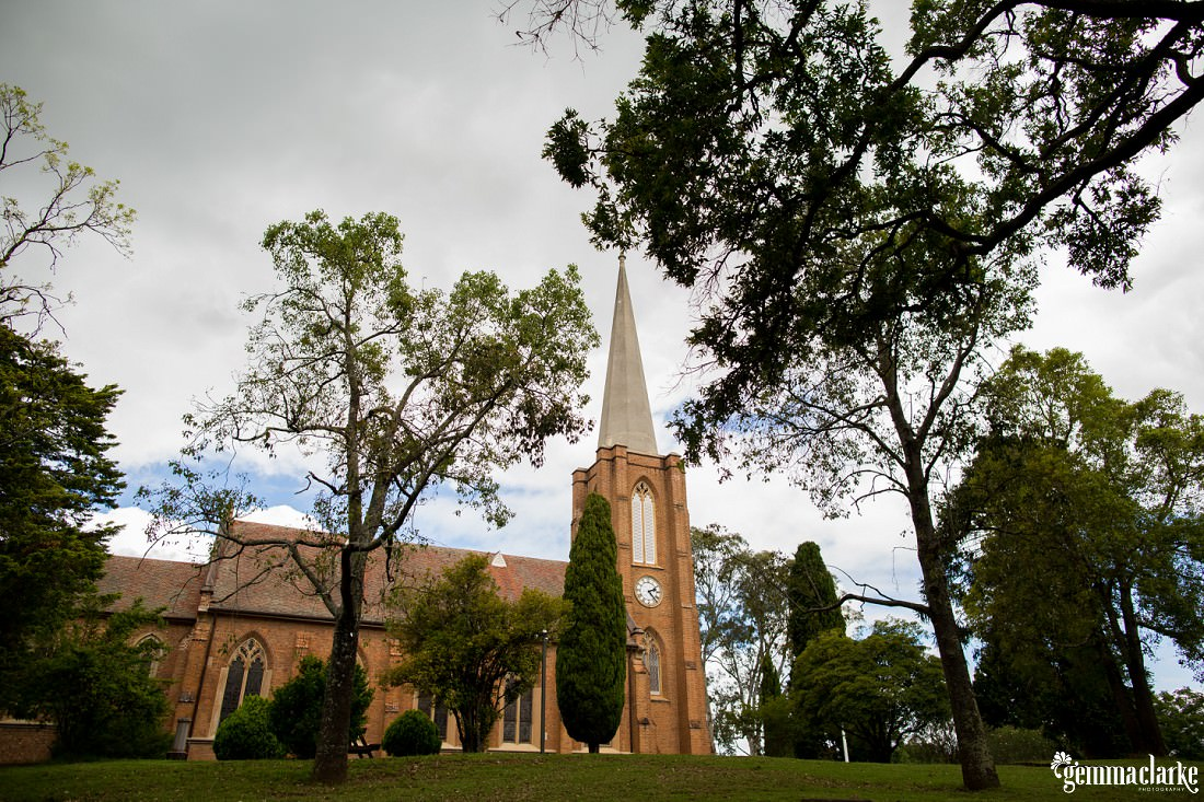 A church under grey clouds