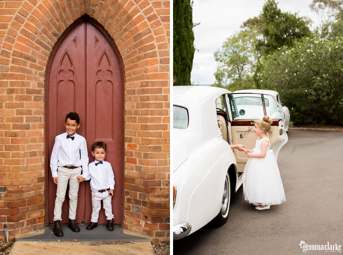 Page boys standing in front of a church door and a flower girls helps a bride out of a car
