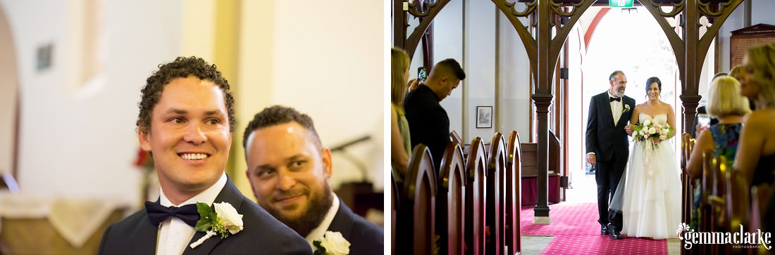 A groom smiles as he sees his bride being walked down the aisle by her father