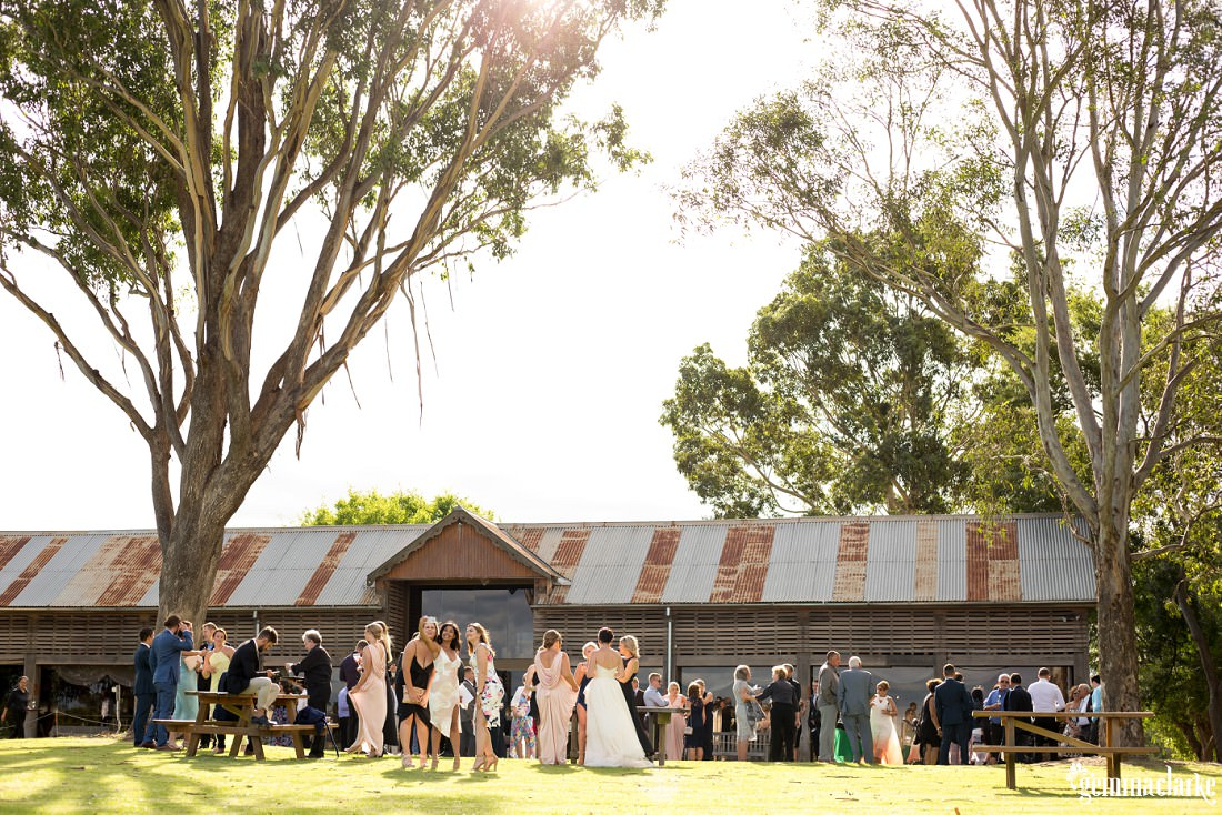 Wedding guests mingle outside a farm building
