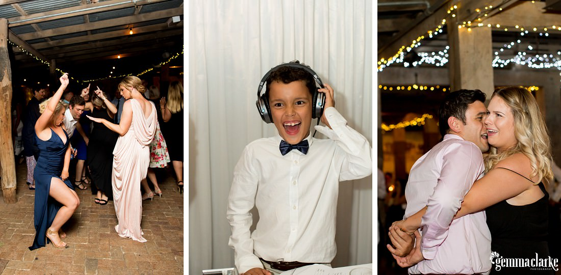 Wedding guests dancing and a young boy with a huge smile with headphones on