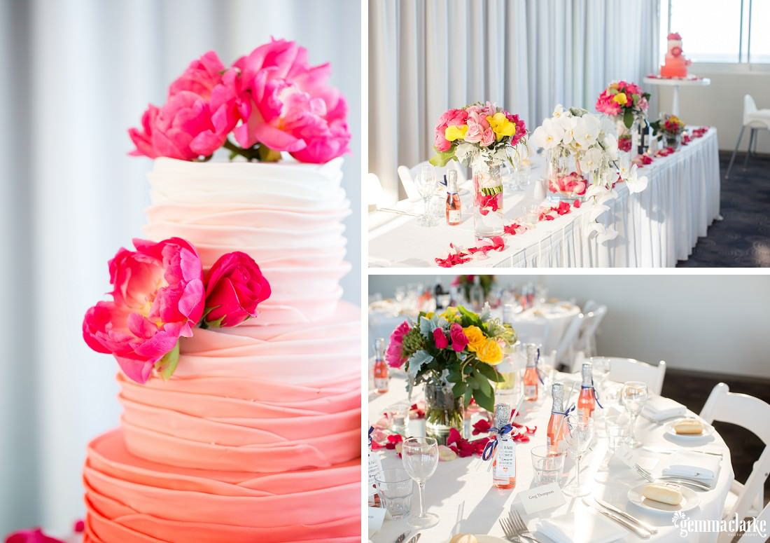 Brightly coloured pink and peach coloured ruffled layered wedding cake with pink flowers - Maroubra Beach Wedding
