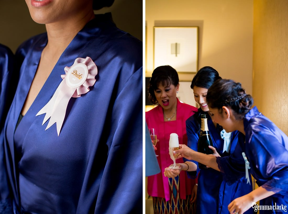 "A closeup of a ""Bride"" ribbon pinned to a bride's robe and bridesmaids pouring champagne"