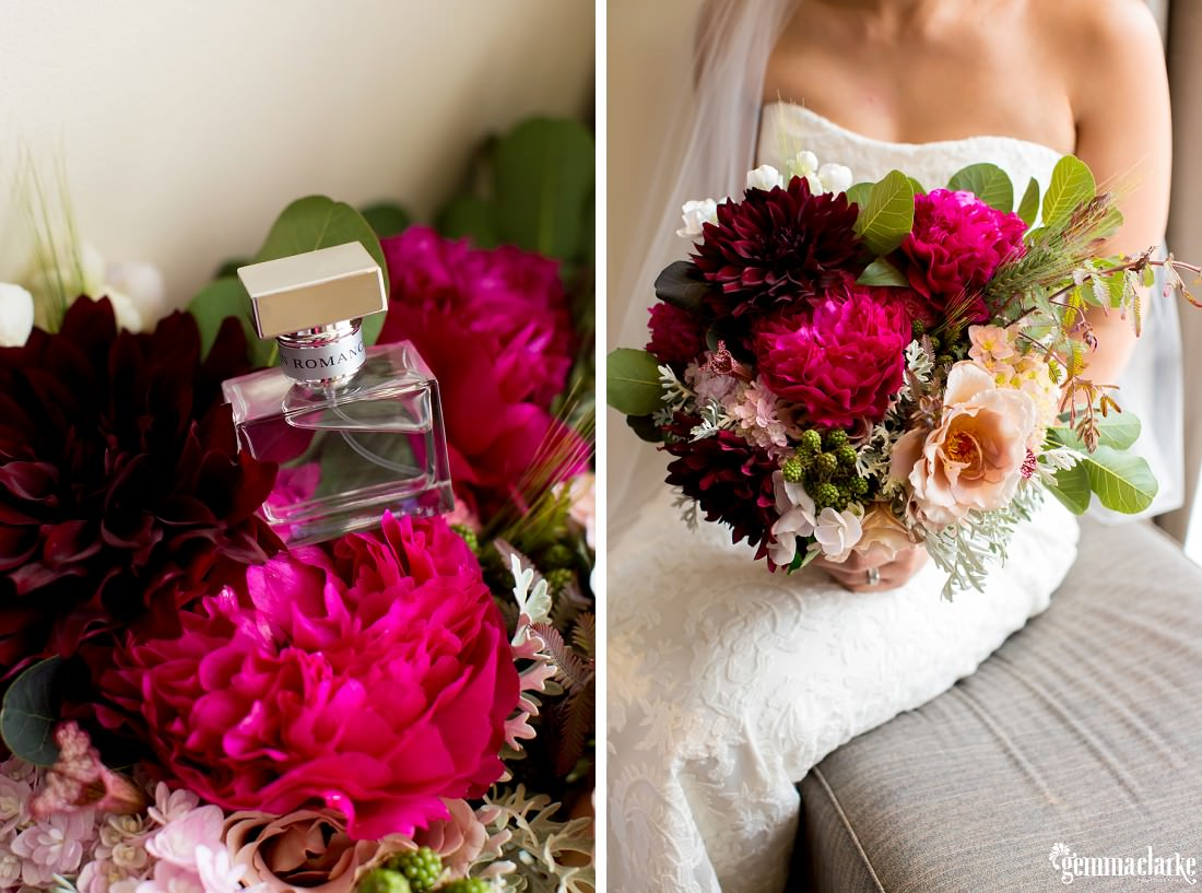 A bottle of perfume on top of some flowers, and a closeup of a bride's bouquet
