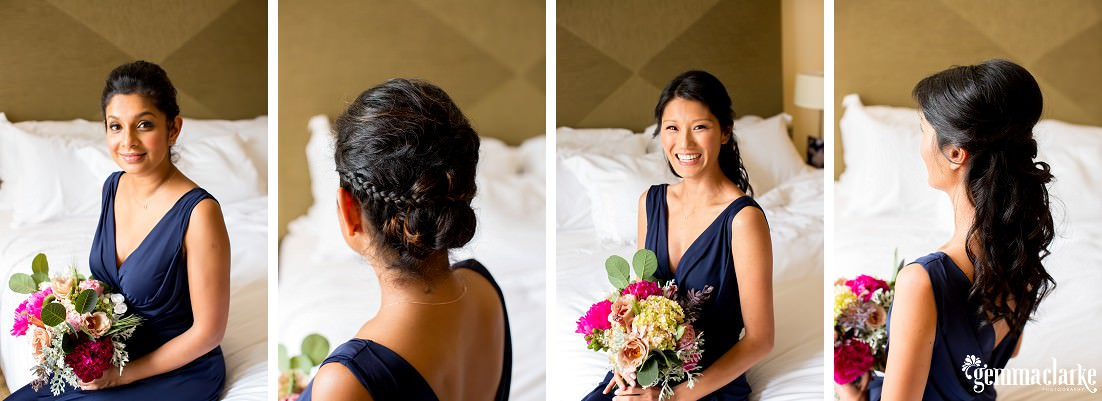Bridesmaids in navy dresses holding bouquets, and closeups of their hairstyles