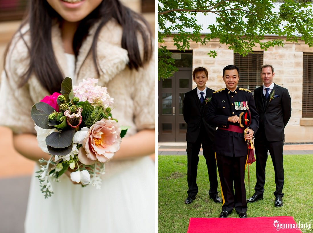 A flower girl's bouquet and a groom and his groomsmen posing together and smiling