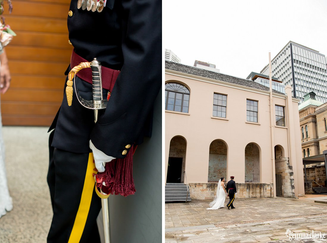 A bride and groom walk together across a wet stone courtyard, and a closeup of the groom's ceremonial sword