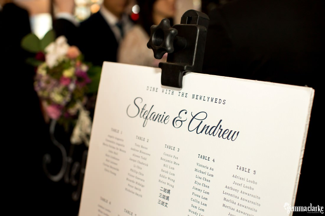 A table arrangement sign at a wedding reception