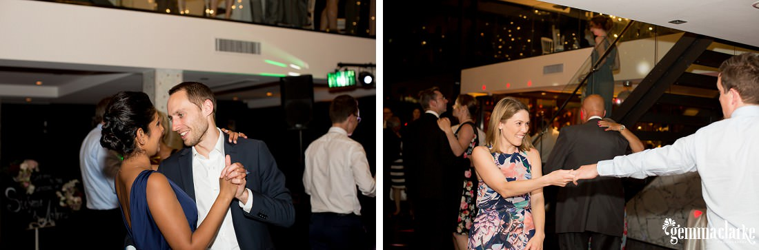 Wedding guests making moves on the dancefloor