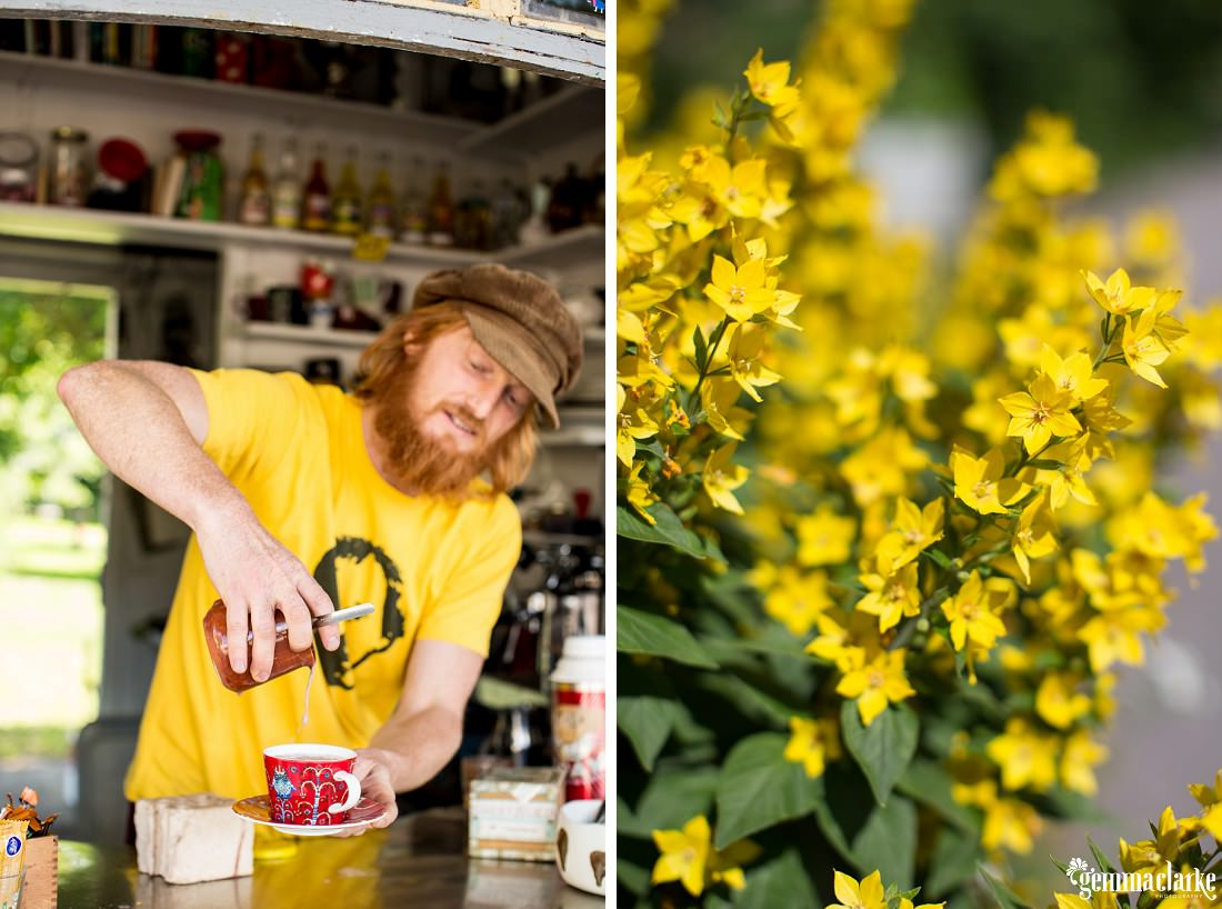 A cafe worker making coffee and some bright yellow flowers