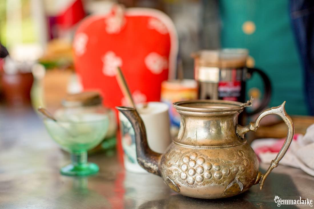 A bronze teapot