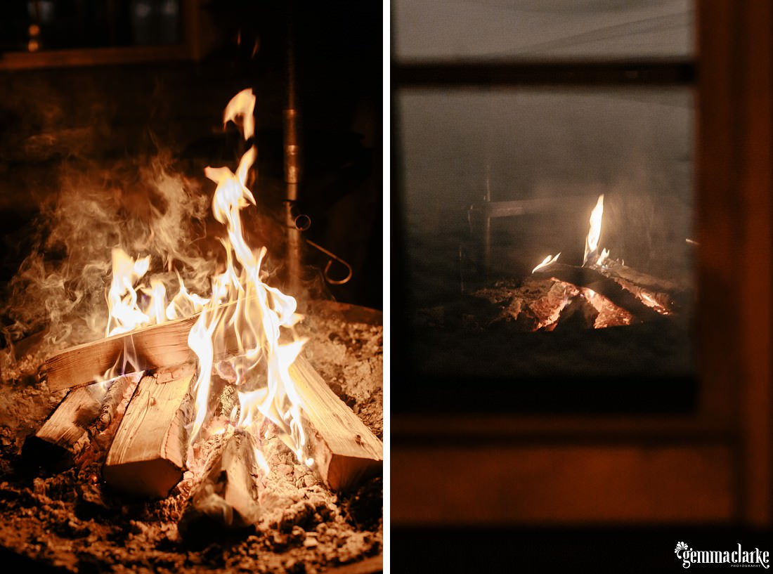 A wood fire burning in a fireplace