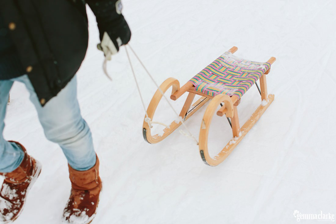 A sled being pulled through the snow