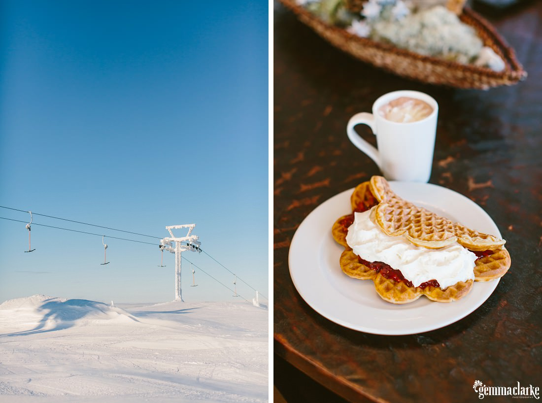 One image of a snow covered ski lift and another of a mug of coffee and a waffle with jam and cream