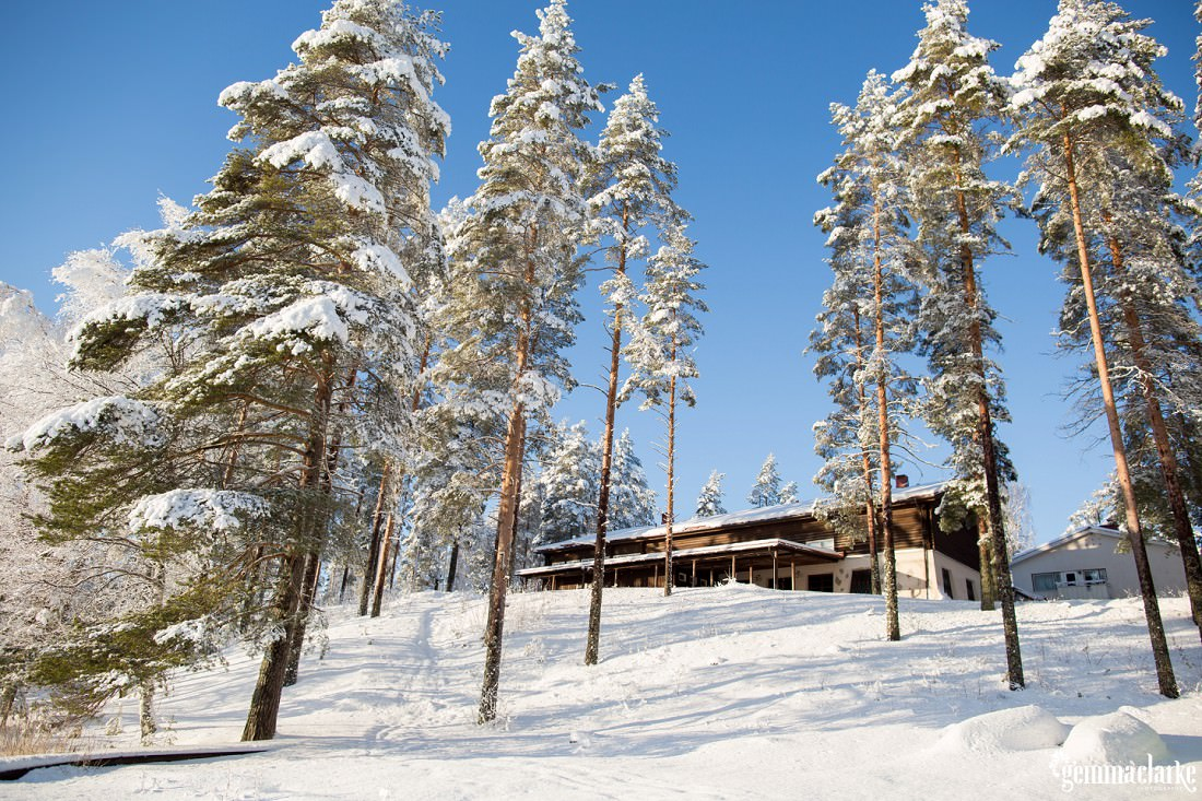 A building in a snowy forest set against a blue sky