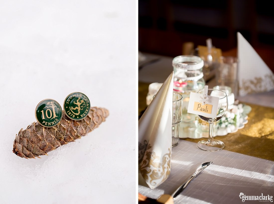 Cuff links on a pine cone in the snow and a table setting at a wedding reception